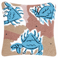 Blue Crab Beach Hooked Pillow