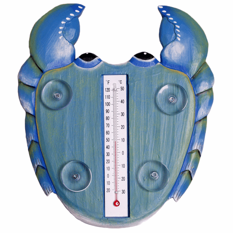 Blue Crab Small Window Thermometer