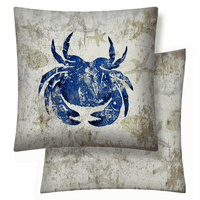 Blue Crab Vinyl Pillow - 18 x 18