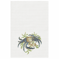 Blue Crab Waffle Weave Kitchen Towels - Set of 12