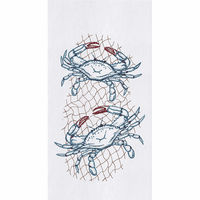 Blue Crabs in Net Flour Sack Towels - Set of 6