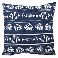 Blue Fish and Shells Indoor/Outdoor Pillow