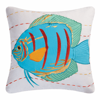 Blue Fish Embroidered Pillow