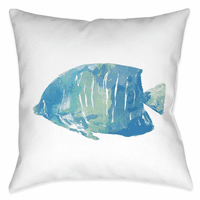 Blue Fish II 20 x 20 Outdoor Pillow
