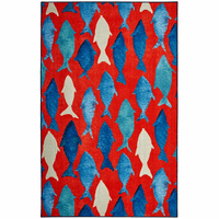 Blue Fish on Red Rug Collection