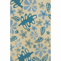 Blue Flowers & Leaves Indoor/Outdoor Rug Collection
