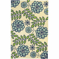 Blue Flowers & Sand Dollars Indoor/Outdoor Rug Collection