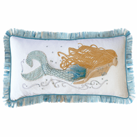 Blue Fringe Mermaid Pillow