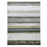 Blue Gray Striped Contemporary Oil Painting on Canvas