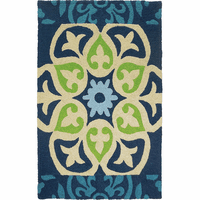Blue & Green Flower Indoor/Outdoor Rug Collection