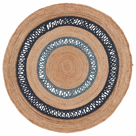 Blue Island Waves Jute Rug - 6 Ft. Round
