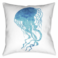 Blue Jellyfish 18 x 18 Outdoor Pillow