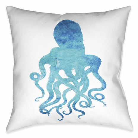 Blue Octopus 18 x 18 Outdoor Pillow