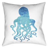 Blue Octopus 20 x 20 Outdoor Pillow