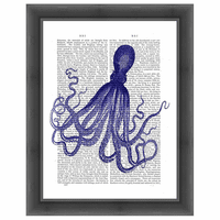 Blue Octopus 4 Framed Print