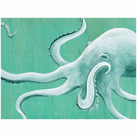 Blue Octopus Canvas Wall Art - 24 x 18