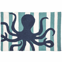 Blue Octopus Hooked Rug