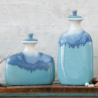 Blue Ombre Ceramic Jars with Lids - Set of 2