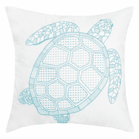 Blue Outline Turtle Pillow