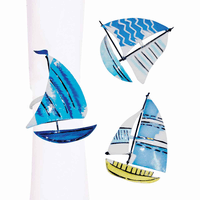 Blue Sailboat Napkin Rings - Set of 6