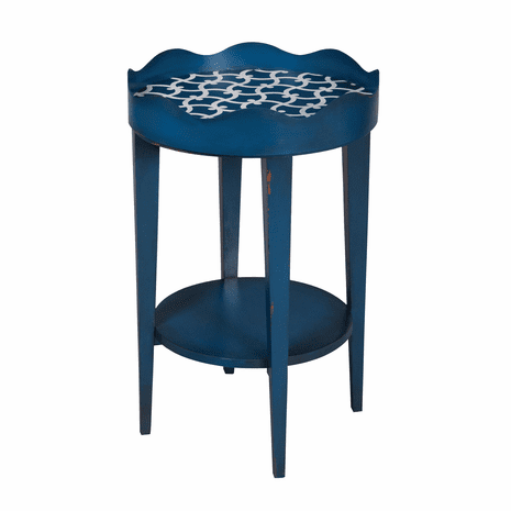 Blue Scallop Round Tray Table