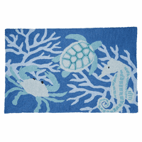 Blue Sea Creatures Hooked Rug