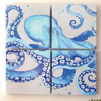 Blue Sea Octopus Canvas Art (4 pcs)