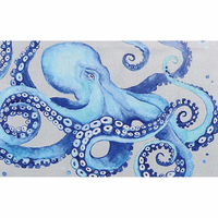 Blue Sea Octopus Canvas Art - CLEARANCE