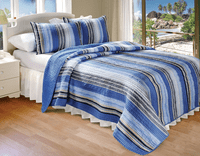 Blue Sea Stripes 2-Piece Quilt Set - Twin - OVERSTOCK