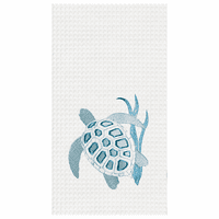 Blue Sea Turtle Waffle Weave Kitchen Towels - Set of 6