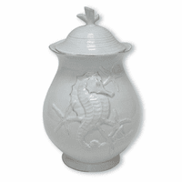Blue Seahorse Canister - 9 Inch