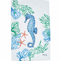 Blue Seahorse Print Flour Sack Towels - Set of 6