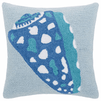 Blue Shell Hooked Pillow