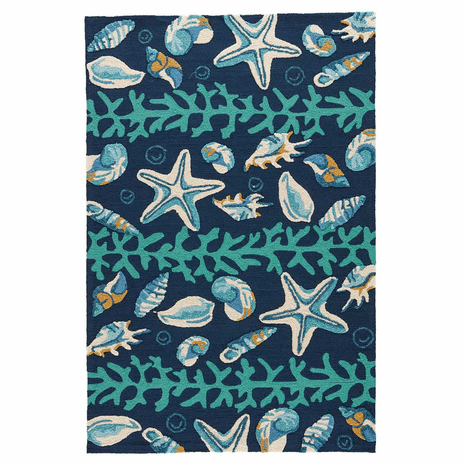 Blue Shell Surf Indoor/Outdoor Rug - 5 x 8
