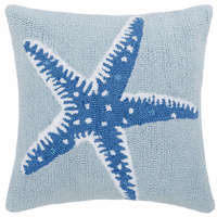 Blue Starfish Hooked Pillow