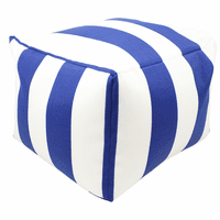 Blue Stripes Indoor/Outdoor Square Pouf