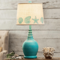 Blue Table Lamp with Shell Border Shade