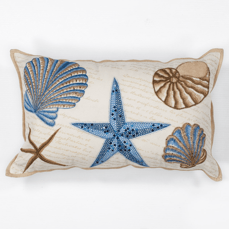 Blue & Tan Seashells Pillow