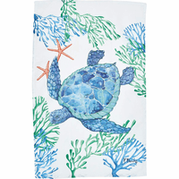 Blue Turtle Print Flour Sack Towels - Set of 6