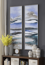 Blue Waves Framed Oil Paintings - Set of 2