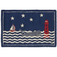 Blue Whale Hooked Wool Rug - 2 x 3