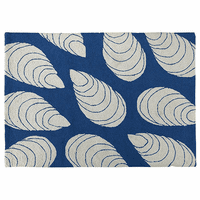 Blue & White Mussels Hooked Rug