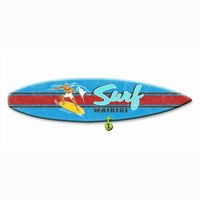 Blue with Red Stripe Surfboard Wood Personalized Sign - 12 x 44