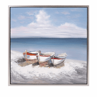 Boat Trio Oil on Canvas with Frame