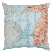 Boho Coastal Seahorse Reversible Indoor/Outdoor Pillow - CLEARANCE