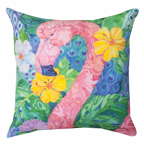Boho Flamingo Flower Pillow