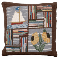 Booth Bay Sailboat Hooked Wool Pillow