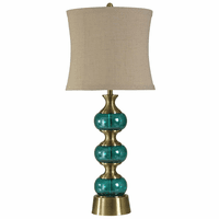 Brass and Teal Glass Table Lamp