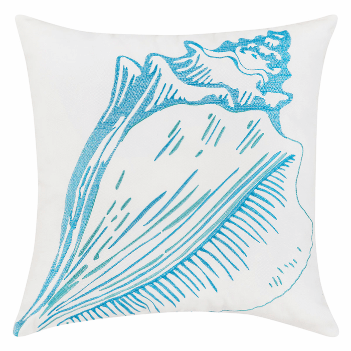 Bright Blue Conch Shell Indoor Outdoor Embroidered Pillow