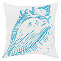 Bright Blue Conch Shell Indoor/Outdoor Embroidered Pillow